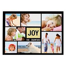 Carte de Noël photo personnalisée joie paillettes dorées 12,7 x 17,78 cm