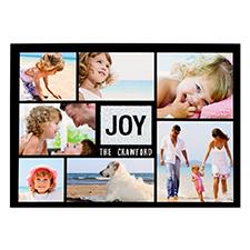 Carte de Noël photo personnalisée joie paillettes argentées 12,7 x 17,78 cm