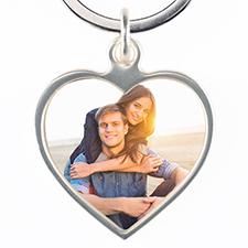 Porte-clé en métal coeur photo personnalisée
