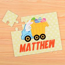 Puzzle pour enfants personnalisé camion de Pâques
