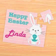 Puzzle pour enfants personnalisé lapin et oeufs de Pâques