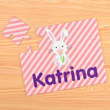 Puzzle pour enfants personnalisé lapin de Pâques