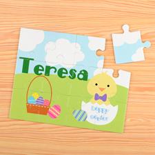 Puzzle pour enfants personnalisé poussin de Pâques