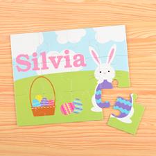 Puzzle pour enfants personnalisé Pâques lapin heureux