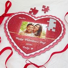 Puzzle en forme de coeur personnalisé amour éclatant