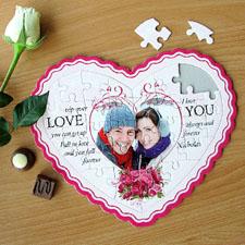 Puzzle en forme de coeur personnalisé message d'amour