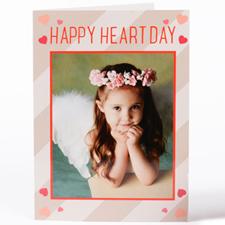 Carte photo Saint-Valentin personnalisée colorée coeurs artisanales, pliée 12, 7 x 17,78 cm