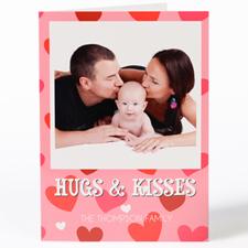 Carte de Saint-Valentin photo personnalisée calins & bisous, pliée 12,7 x 17,78 cm