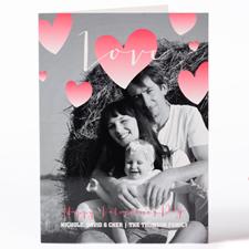 Carte photo de Saint-Valentin personnalisée coeur aquarelle, pliée 12,7 x 17,78 cm