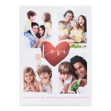 Carte photo Saint Valentin personnalisée coeur feuille rouge, 12,7 x 17,78 cm