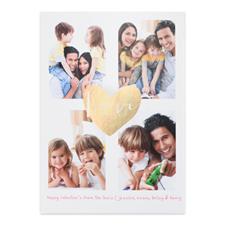 Carte photo Saint-Valentin personnalisée coeur feuille d'or, 12,7 x 17,78 cm