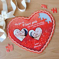 Puzzle en forme de coeur personnalisé amour rouge