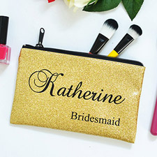 Real Glitter Gold Personalized Cosmetic Bag Medium