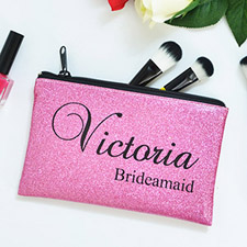 Real Glitter Hot Pink Personalized Cosmetic Bag For Bridesmaids, 9.5X13