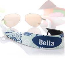 Sangle de lunettes de soleil personnalisé floral turquoise et bleu
