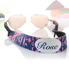 Sangle de lunettes de soleil personnalisée rose et bleu marine