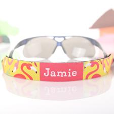 Sangle de lunettes de soleil personnalisée jaune et flamand rose