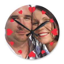 Large horloge photo acrylique ronde personnalisée coeurs 27,3 cm