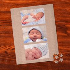 Puzzle photo portrait personnalisé doré intemporel 3 collage 30,48 x 41,91 cm