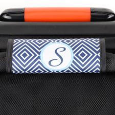 Enveloppe de poignée de valise personnalisée ikat bleu marine