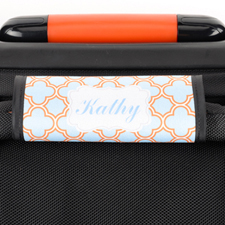 Enveloppe de poignée de valise personnalisée quadrilobe turquoise orange