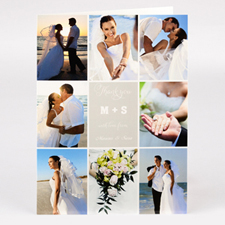 Carte collage photo personnalisée pour mariage merci avec amour de