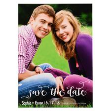 Carte photo réservez la date personnalisée portrait écriture blanche