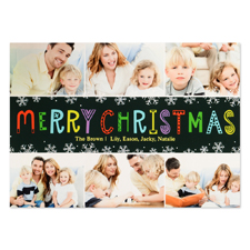Carte photo personnalisée flocon de neige Noël six collage