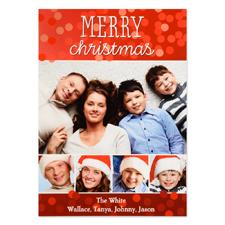 Carte photo personnalisée joyeux Noël cinq collage