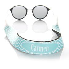 Sangle de lunettes de soleil monogrammée chevron turquoise
