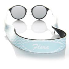 Sangle de lunettes de soleil monogrammée chevron bleu clair