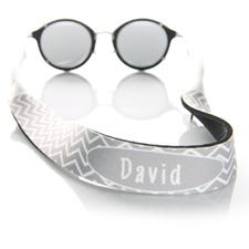 Sangle de lunettes de soleil monogrammée chevron gris