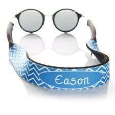 Sangle de lunettes de soleil monogrammée chevron bleu
