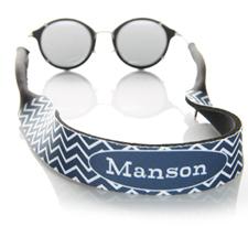 Sangle de lunettes de soleil monogrammée chevron bleu marine