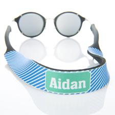 Sangle de lunettes de soleil monogrammée rayure bleue