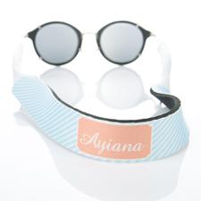 Sangle de lunettes de soleil monogrammée rayure bleu clair