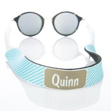Sangle de lunettes de soleil monogrammée rayure turquoise