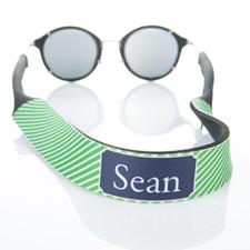 Sangle de lunettes de soleil monogrammée rayure verte
