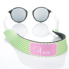 Sangle de lunettes de soleil monogrammée rayure vert citron