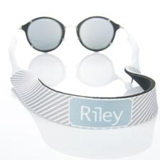 Sangle de lunettes de soleil monogrammée rayure grise