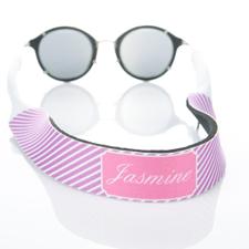 Sangle de lunettes de soleil monogrammée rayure lavande