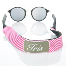 Sangle de lunettes de soleil monogrammée rayure rose vif