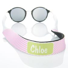 Sangle de lunettes de soleil monogrammée rayure rose