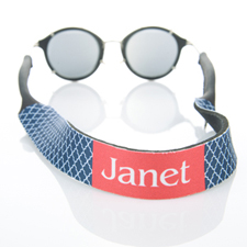 Sangle de lunettes de soleil monogrammée quadrilobe bleu marine