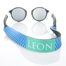 Sangle de lunettes de soleil monogrammée quadrilobe bleu