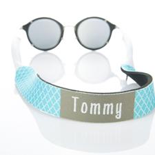 Sangle de lunettes de soleil monogrammée quadrilobe turquoise