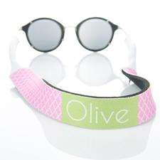 Sangle de lunettes de soleil monogrammée quadrilobe rose