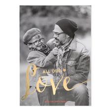 Carte Saint-Valentin personnalisée feuille d'or tout notre amour