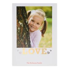 Carte Saint-Valentin personnalisée feuille d'or amour