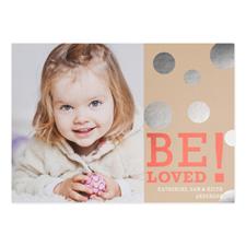 Carte Saint-Valentin personnalisée feuille d'argent être aimé